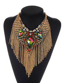 Fashion Gold Color Diamond&tassel Decorated Simple Necklace