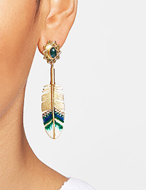 Fashion Gold Color Feather Shape Decorated Simple Earrings