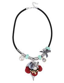 Fashion Green Flower&pearls Decorated Long Necklace