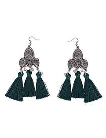 Fashion Green Tassel Pendant Decorated Pure Color Earrings