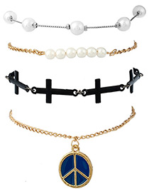 Fashion Gold Color Cross&pearls Decorated Simple Bracelet (4pcs)