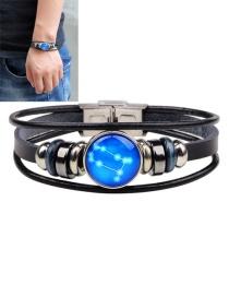 Fashion Black Gemini Shape Decorated Constellation Pure Color Bracelet