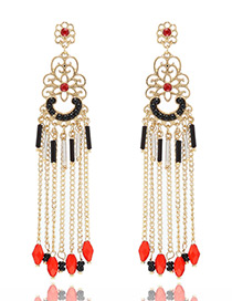 Fashion Red Long Tassel Pendant Decorated Long Bohemian Earrings