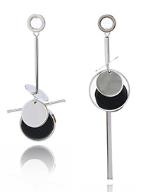 Fashion Silver Color Circular Ring Decorated Asymmetric Earrings