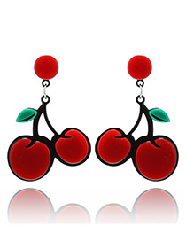 Fashion Red Cherry Pendant Decorated Pure Color Earrings