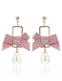 Fashion Pink Bowknot&pearls Decorated Simple Earrings