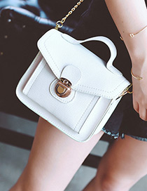 Trendy White Buckle Decorated Pure Color Shoulder Bag