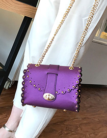Trendy Purple Rivet Decorated Pure Color Mini Shoulder Bag