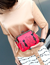 Fashion Red Printing Cat Pattern Decorated Pure Color Shoulder Bag