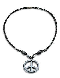 Fashion Black Circular Ring Pendant Pure Color Necklace
