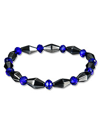 Fashion Sapphire Blue+black Bead Deccorated Color Matching Simple Bracelet
