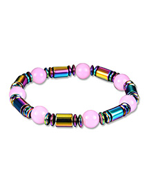 Fashion Multi-color Bead Decorated Pure Color Simple Bracelet