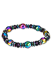 Fashion Multi-color Bead Deccorated Color Matching Simple Bracelet