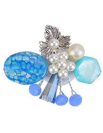 Fashion Blue Peral Decorated Flower Shape Color Matching Brooch