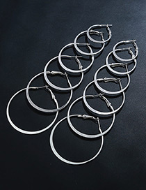 Elegant Silver Color Circular Ring Shape Decorated Pure Color Earrings (6 Pieces)