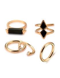 Vintage Antique Gold Geometry Shape Decorated Pure Color Ring Sets (5 Pcs)