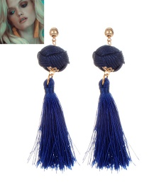 Fashion Navy Tassel Decorated Pure Color Earrings