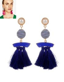 Fashion Sapphire Blue Pearls&tassel Decorated Simple Earrings
