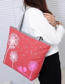 Fashion Red Dandelion Pattern Decorated Shoulder Bag