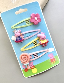 Lovely Multi-color Pig&flower Decorated Color Matching Hairpin(4pcs)