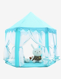 Lovely Blue Pure Color Decorated Hexagonal Shape Simple Tent