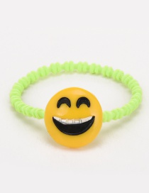 Lovely Yellow+light Green Smiling Face Decorated Color Matching Hair Band