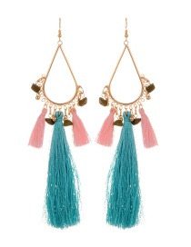 Fashion Green Tassel Pendant Decorated Simple Earrings