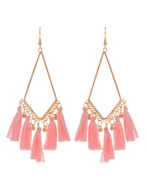 Fashion Pink Tassel Pendant Decorated Simple Earrings