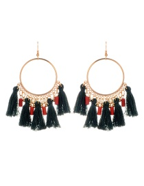 Fashion Dark Green Tassel Decorated Round Shape Design Earrings