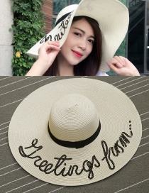 Trendy Beige Letter Pattern Decorated Pure Color Sun Hat