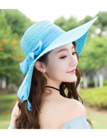 Trendy Light Blue Bowknot Decorated Pure Color Anti-ultraviolet Hat