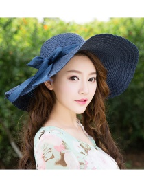 Trendy Dark Blue Bowknot Decorated Pure Color Anti-ultraviolet Hat