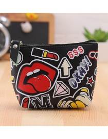 Lovely Black Lip Pattern Decorated Simple Wallet