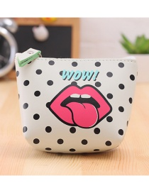 Lovely White Lip Pattern Decorated Simple Wallet