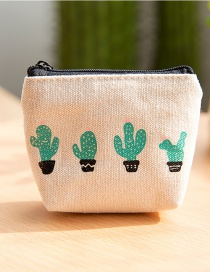 Lovely White Cactus Pattern Decorated Simple Wallet