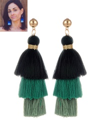 Fashion Green Tassel Decorated Color Matching Earrings