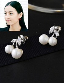 Fashion White Cherry Shape Decorated Simple Earrings