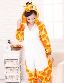 Fashion Yellow Giraffe Shape Decorated Pure Color Nightgown