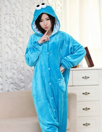 Fashion Blue Eyes Shape Decorated Pure Color Nightgown