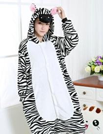 Fashion Black+white Zebra Shape Decorated Simple Nightgown