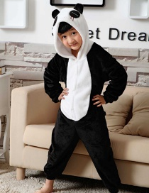 Fashion Black+white Panda Shape Decorated Simple Chid Nightgown