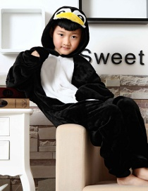 Fashion Black Penguin Shape Decoratedchid Nightgown