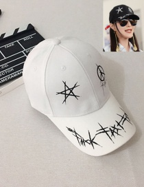 Fashion White Star Pattern Decorated Pure Color Baseball Cap