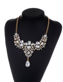 Fashion Silver Color Geometric Shape Diamond Decorated Pure Color Necklace