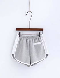 Fashion Gray Color Matching Decorated Simple Sports Shorts