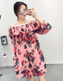 Fashion Pink Flower Pattern Decorated Off Shoulder Dress