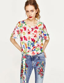 Fashion Multi-color Flower Pattern Decorated Knot Design Shirt