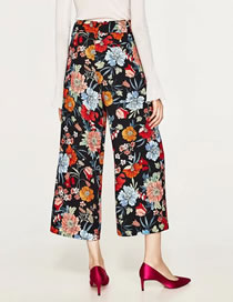 Fashion Multi-color Flower Pattern Decorated Simple Loose Pant