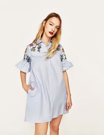 Fashion Light Blue Embroidery Flower Decorated Flare Sleeves Dress