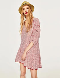 Fashion Red Embroidery Flower Decorated Puff Sleeves Dress